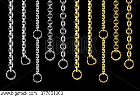Silver And Gold Metal Chains Hanging Vertically Isolated On Black Background. Vector Set Of Steel Ch
