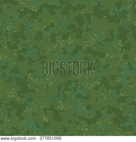 Green Seamless Army Camouflage, Vector Pattern.  Repeated Graphic Brown Monochrome, Camo Texture. Kh