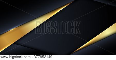 Abstract Banner Design Template Modern Luxury Blue And Gold Triangle Overlapping Layer On Dark And S