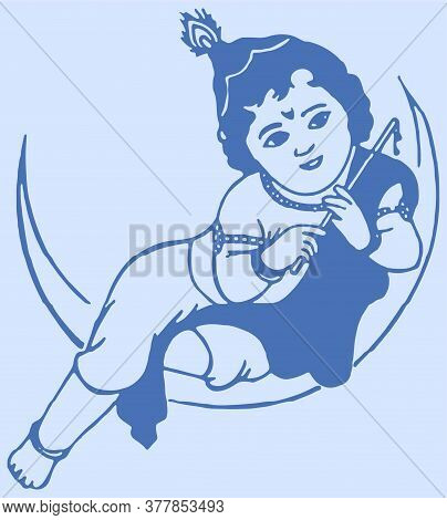 Drawing Or Sketch Of Little Krishna Sitting Above The Moon. Bal Krishna On The Moon Black Wall Stick