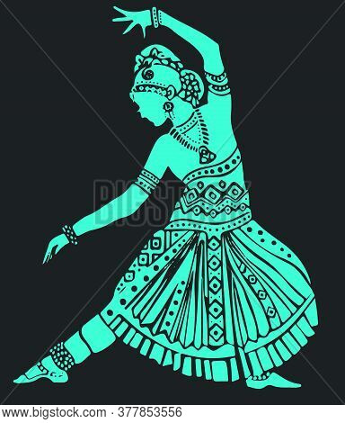 Drawing Or Sketch Of Well Traditional And Ethnic Dressed Lady Doing Bharatanatyam Dance. Silhouette