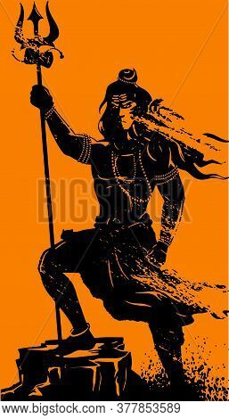 Drawing Or Sketch Of Lord Shiva Outline Vector Illustration. Design Element Of Shiv Text Mahadev, Tr