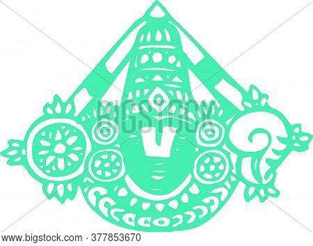 Drawing Or Sketch Of Lord Venkateshwara Outline Vector Editable Illustration