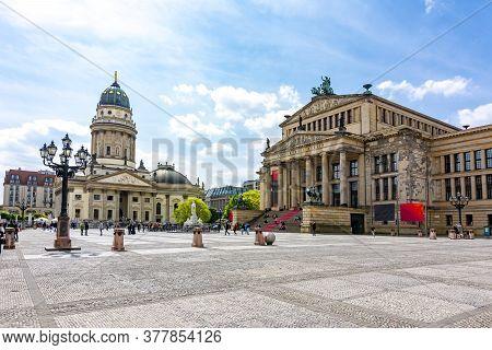 Concert Hall (konzerthaus) And New Church (deutscher Dom Or Neue Kirche) On Gendarmenmarkt Square, B