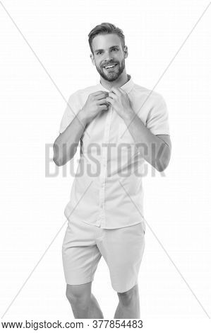 Male Fashion Summer Trends. Unshaven Man Skin Care. Barbershop Concept. Perfect Appearance. Menswear