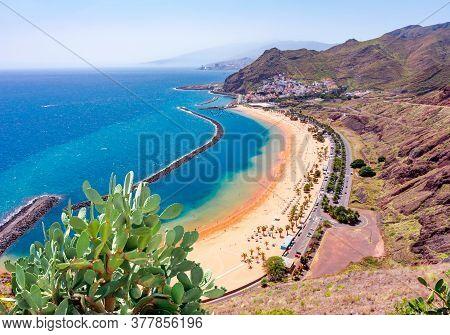 Aerial View Of Teresitas Beach Near Santa Cruz, Tenerife, Canary Islands, Spain