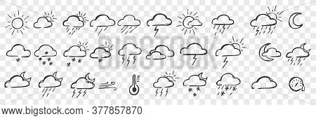 Hand Drawn Pacific Doodle Set. Collection Of Pen Ink Pencil Drawing Sketches Of Clouds Sun Snowfall