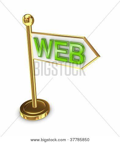Golden arrow with a word WEB.