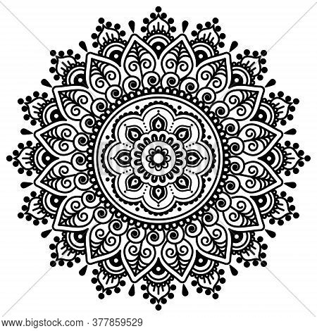 Mehndi Indian Vector Mandala Design - Traditional Henna Tattoo Pattern Popular In India And Pakistan