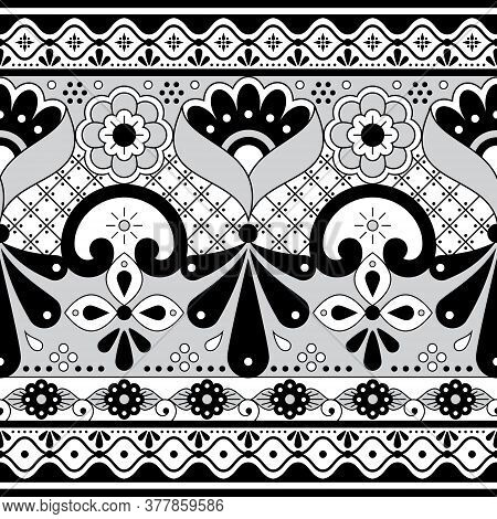 Mexican Talavera Poblana Pottery Vector Seamless Pattern, Repetitive Black And Whie Ornament Inspire
