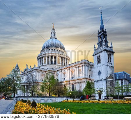 St. Paul's Cathedral At Sunset, London, Uk