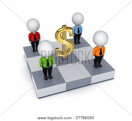 Dollar sign and 3d small people on a chessboard.