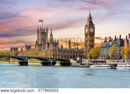 Houses Of Parliament With Big Ben And Westminster Bridge At Sunset, London, Uk