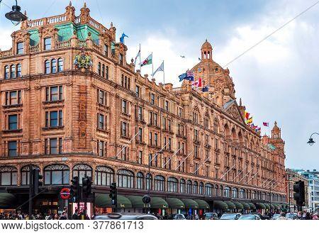 London, Uk - April 2018: Harrods Department Store In London