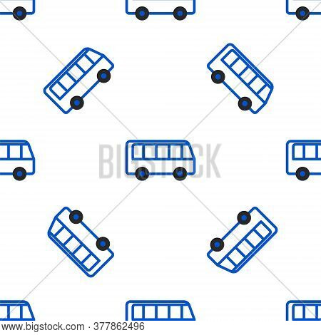 Line Bus Icon Isolated Seamless Pattern On White Background. Transportation Concept. Bus Tour Transp