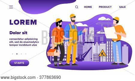 Engineers Team Discussing Issues At Construction Site Flat Vector Illustration. Foreman Looking At C