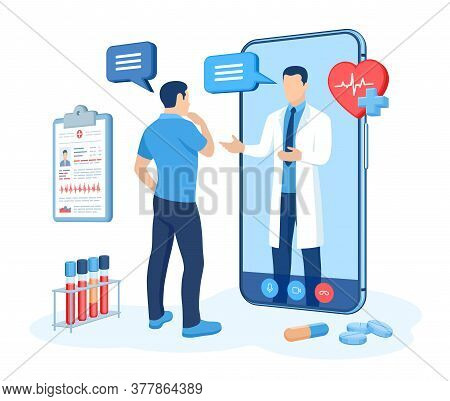 Online Medical Consultation And Support Services Concept. Doctor Videocalling On Smartphone Screen.