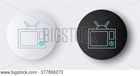 Line Tv Icon Isolated On Grey Background. Television Sign. Colorful Outline Concept. Vector