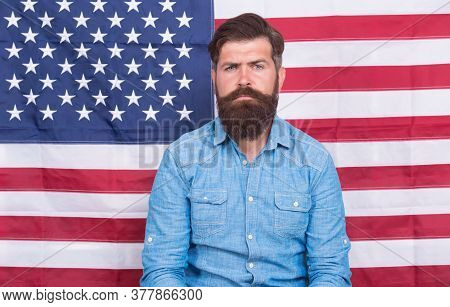 Serious Man At Usa National Flag. Victory And Freedom. Education And Business In America. Students E