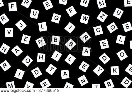 Alphabet Background In Black And White. Letters Of English Alphabet On Black Background. Black And W