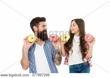 Buy More Sweets. Family Bakery. Bakery Shop. Sweet Tooth. Girl Child And Dad Hold Glazed Donuts. Che