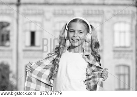 Wherever I Go. Back To School. Small Girl In Headphones. Listening Audio Book. Free Ebook. Girl In H