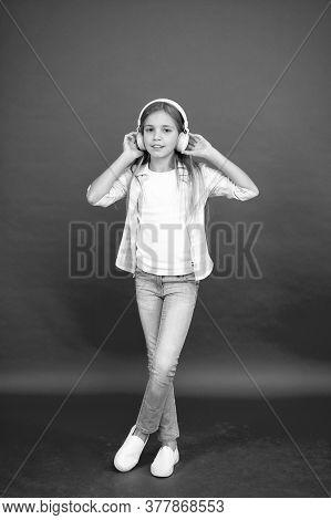 Enjoying The Melody. Summer Vacation. School Child Listening Loud Music. Happy Kid In Wireless Earph