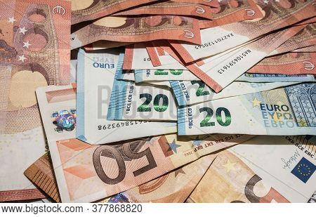 A Pile Of Euro Banknotes, 10 Euro, 20 Euro And 50 Euro Notes