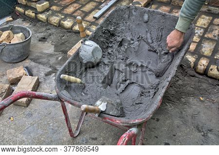 Masonry Trolley, Mortar, And Tools
