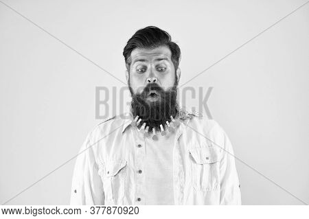 Male Barber Care. Laundry After Washing. Hair Drying At Barbershop. Hairdresser Concept. Man Clothes
