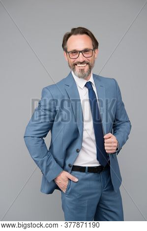 Feeling Happiness. Male Glasses Fashion. Representative University Professor. Happy Mature School Te