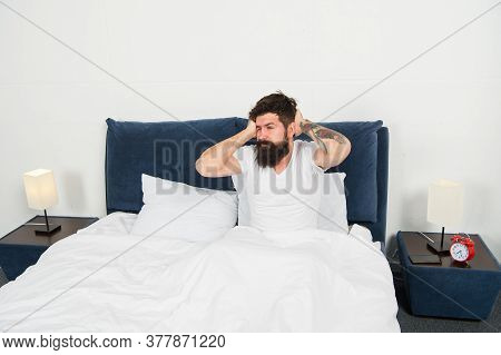 Lazy Man Happy Waking Up In Bed. Carefree Guy Enjoying Morning. Wake Up. Enjoying Carefree Morning.