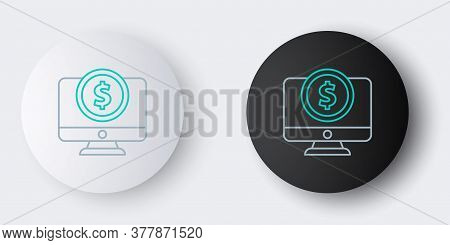 Line Computer Monitor With Dollar Symbol Icon Isolated On Grey Background. Online Shopping Concept.