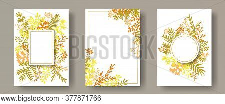 Watercolor Herb Twigs, Tree Branches, Flowers Floral Invitation Cards Collection. Bouquet Wreath Ele