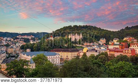 Karlovy Vary, Czech Republic. Panoramic Aerial Image Of Karlovy Vary (carlsbad), Located In Western
