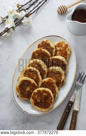 Cheese Flapjacks Or Pancakes. Rounf Frities Made From Cotage Cheese.