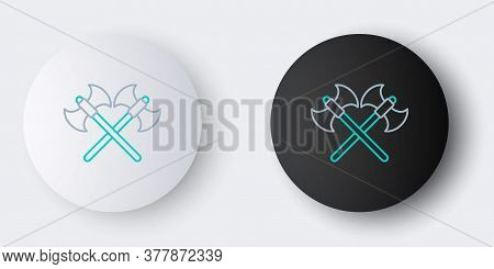 Line Crossed Medieval Axes Icon Isolated On Grey Background. Battle Axe, Executioner Axe. Colorful O