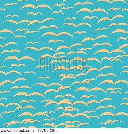 Endless Pattern Of Seagulls On A Blue Background