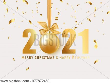 Happy New Year 2021. Hanging Realistic Bauble Ball On Gold Ribbon With Bow. Holiday Gift Card. Golde