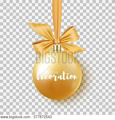 Gold Christmas Bauble With Ribbon And Bow On Transparent Background. Vector Illustration