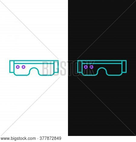 Line Smart Glasses Mounted On Spectacles Icon Isolated On White And Black Background. Wearable Elect