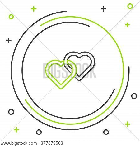 Line Two Linked Hearts Icon Isolated On White Background. Romantic Symbol Linked, Join, Passion And