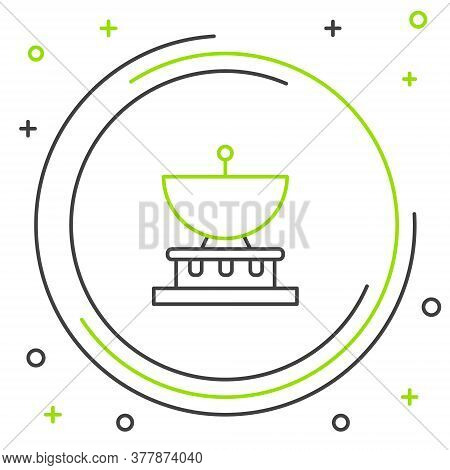 Line Planet Saturn With Planetary Ring System Icon Isolated On White Background. Colorful Outline Co
