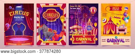 Circus Show Banners, Big Top Tent Carnival Entertainment With Elephant, Phoenix On Stage, Ice Cream