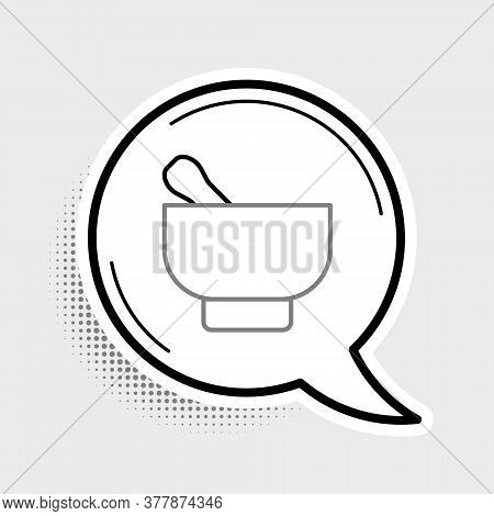 Line Magic Mortar And Pestle Icon Isolated On Grey Background. Colorful Outline Concept. Vector