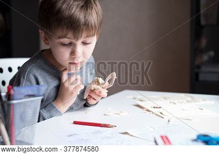 The Child Collects A Wooden Craft From Parts, Sitting In His Room. Boy And Constructor
