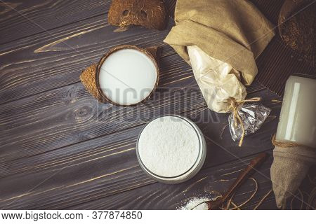Coconut Milk And Coconut Flakes