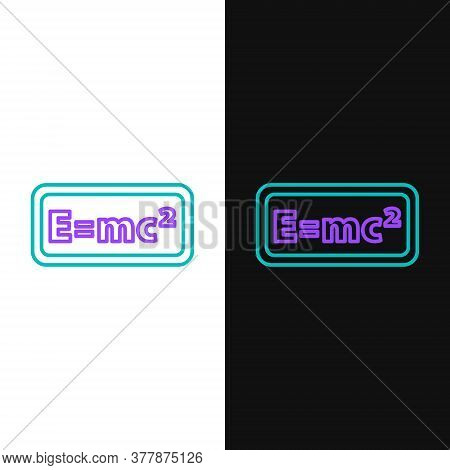 Line Math System Of Equation Solution Icon Isolated On White And Black Background. E Equals Mc Squar