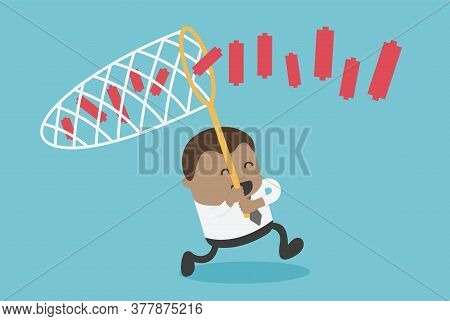 African Businessmen Chasing Partner Graph With Netting