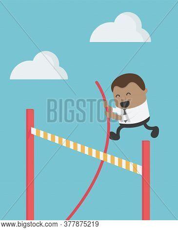 Concept Cartoon Illustration African Businessmen Jump Over Barricade